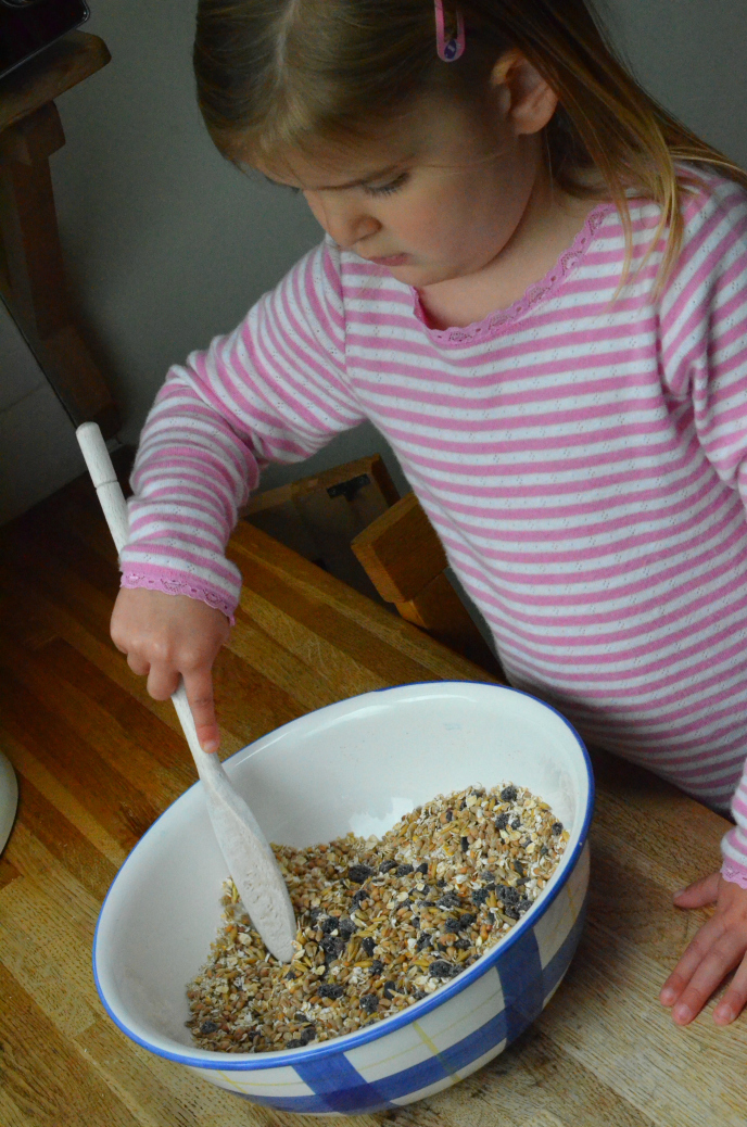 stirring bird food