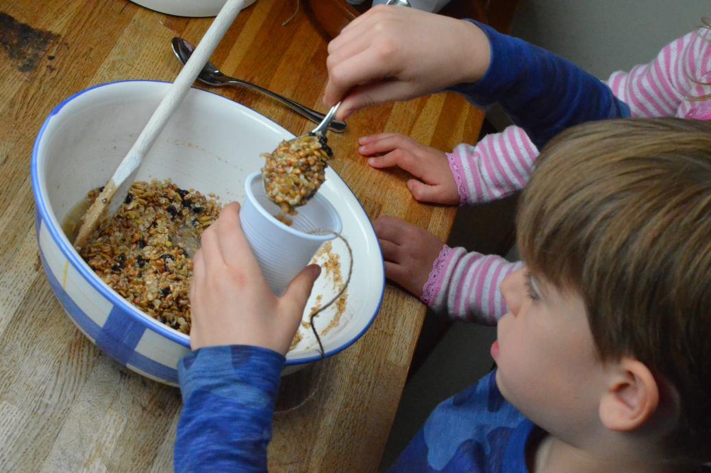 spooning bird food