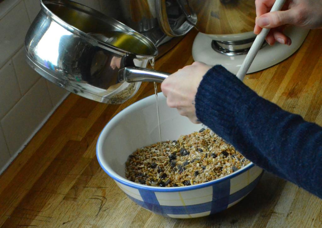 stirring ingredients for homemade bird feeders