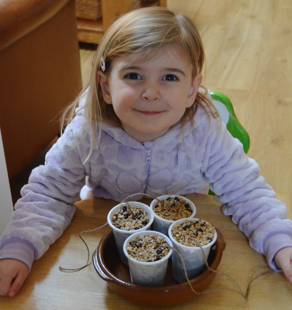 homemade fat cake bird feeders