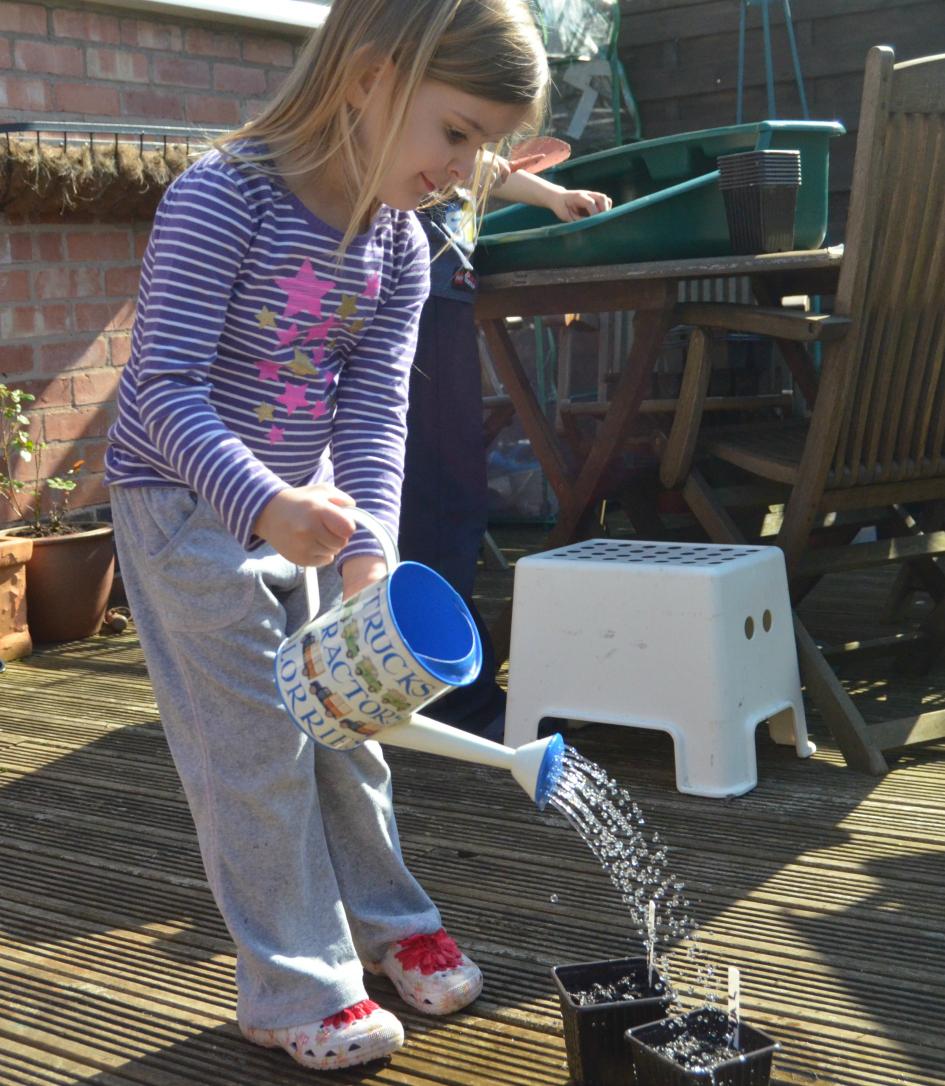 Kids seed sowing watering
