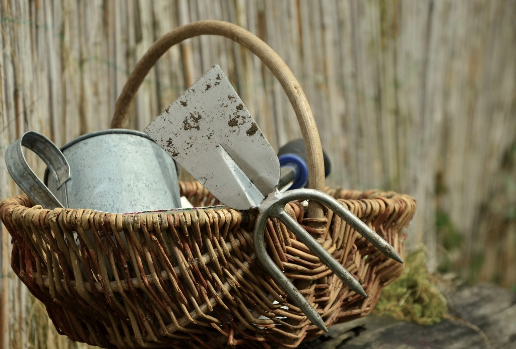 garden trug with tools