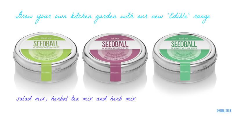 seedball edible range herb mix salad mix tea mix seed tins