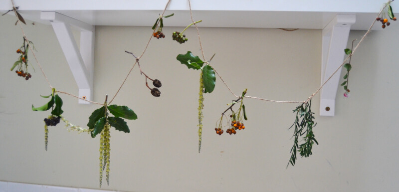 winter nature crafts - making a nature garland