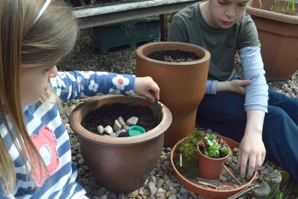a miniature fairy garden is a great nature craft activity for children