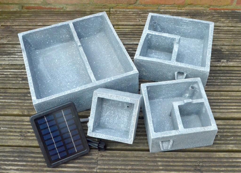 solaray perth square four tier solar water feature
