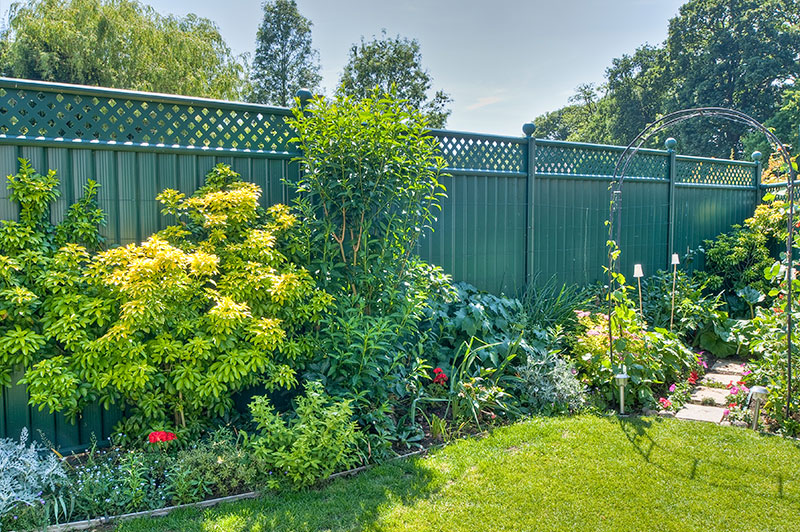 metal fencing is a low maintenance option for creating privacy in a family garden