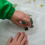 clay craft with natural materials - removing leaves