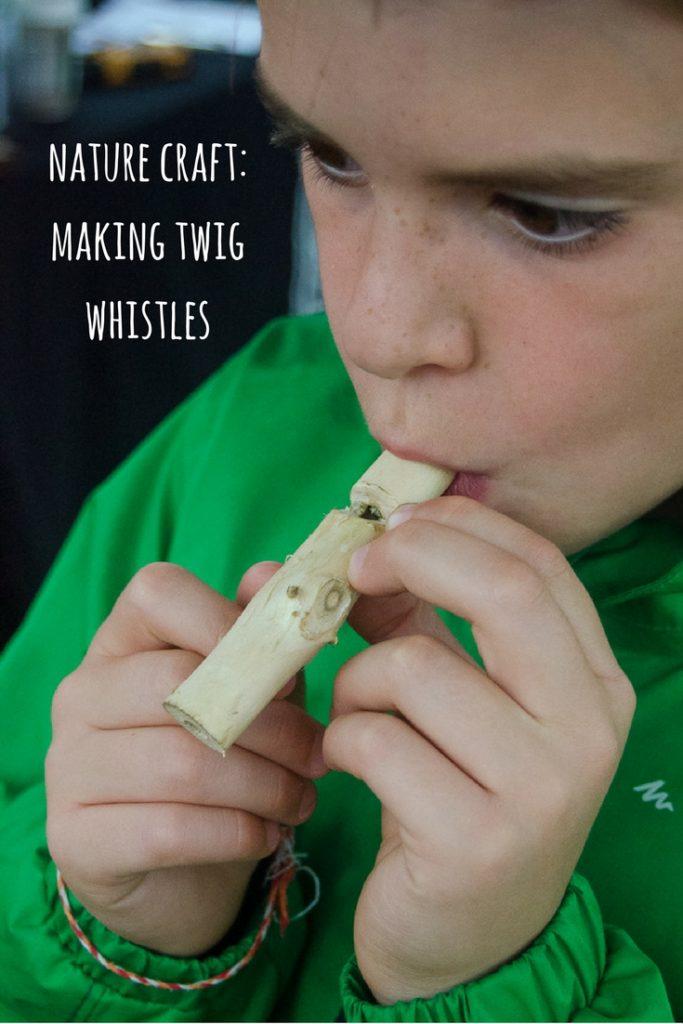 nature craft making twig whistles