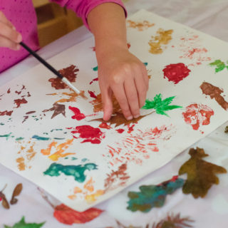 nature craft printing with leaves