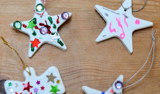 Homemade Christmas ornaments using baking soda dough