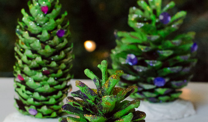 Natural Christmas decorations: pine cone trees