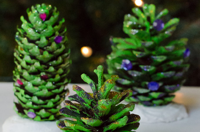 How to make these beautiful pie cone trees natural christmas decorations - a fun nature craft to help prepare your home for the holiday season