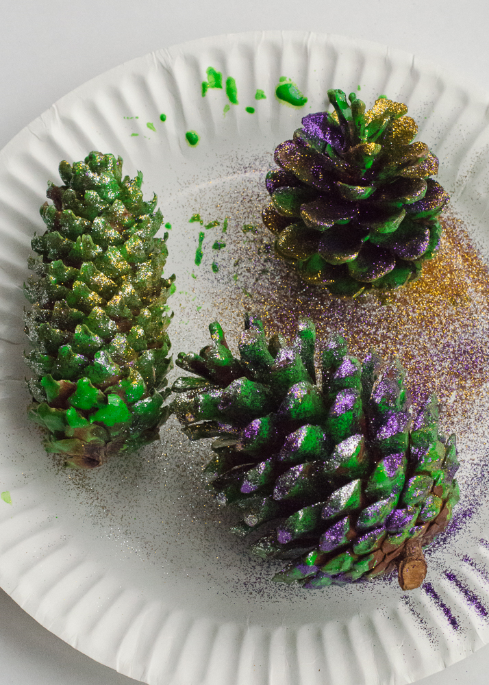 pine cones covered with paint and glitter