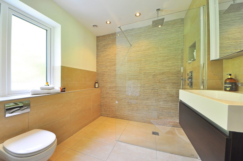 luxury bathroom with walk in shower