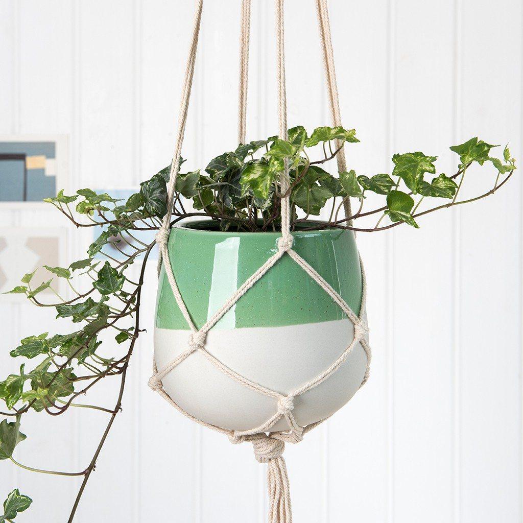dotcomgiftshop sage green macrame plant pot