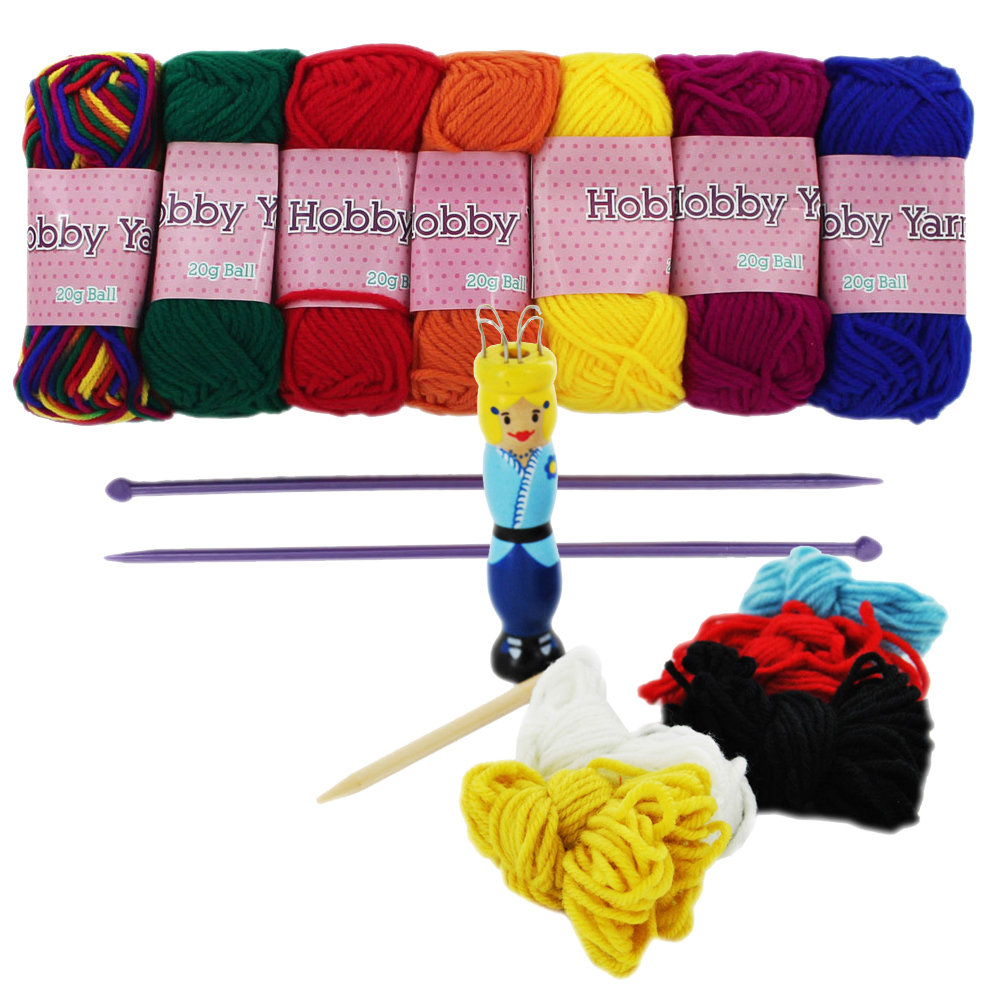 The Works Bright Hobby Yarn and Knitting Doll Set