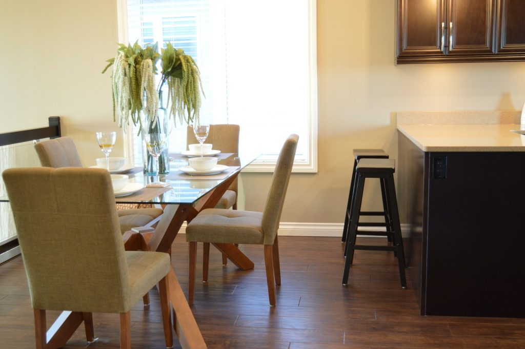 dining room with vinyl floor tiles