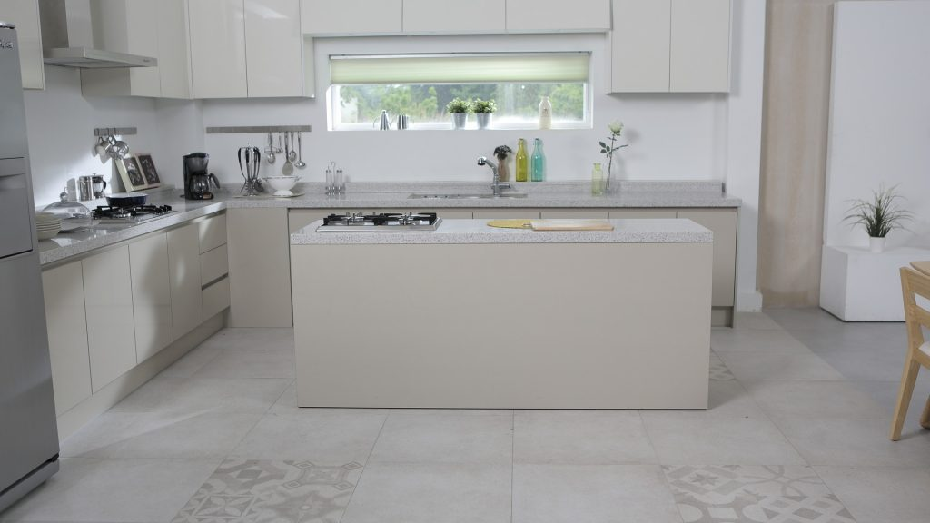 kitchen with vinyl floor tiles