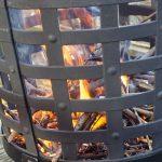 Aragon Cast Iron Fire Basket fire closeup 2