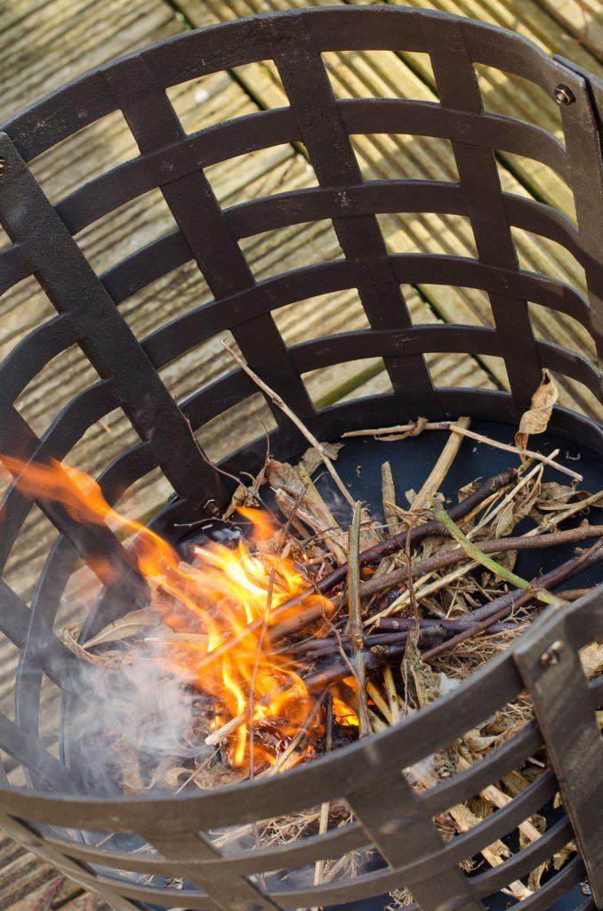 Aragon Cast Iron Fire Basket fire closeup
