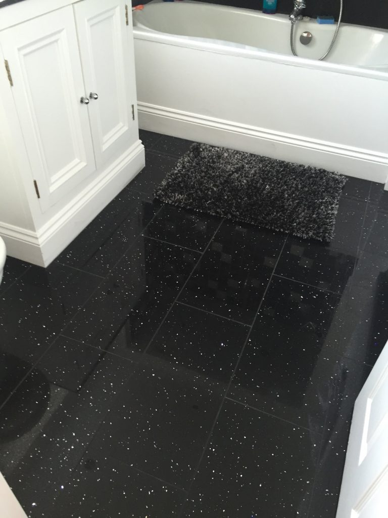 sparkly bathroom floor tiles