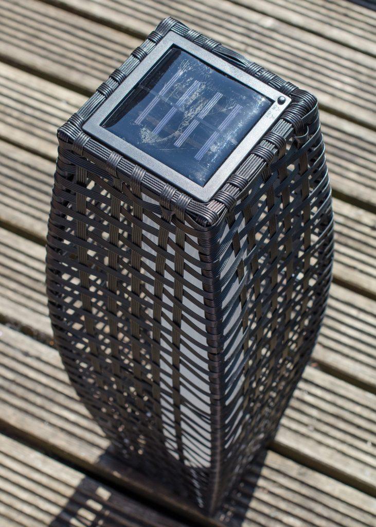 T J Hughes roma rattan solar floor lamp