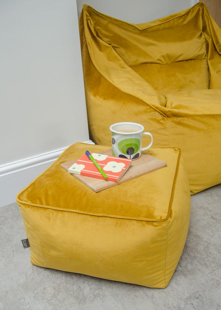 icon milano armchair bean bag and footstool in mustard