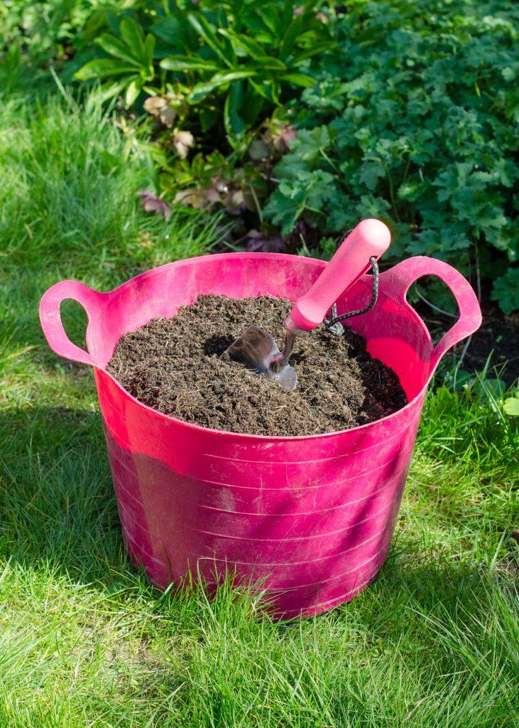 pink garden trug