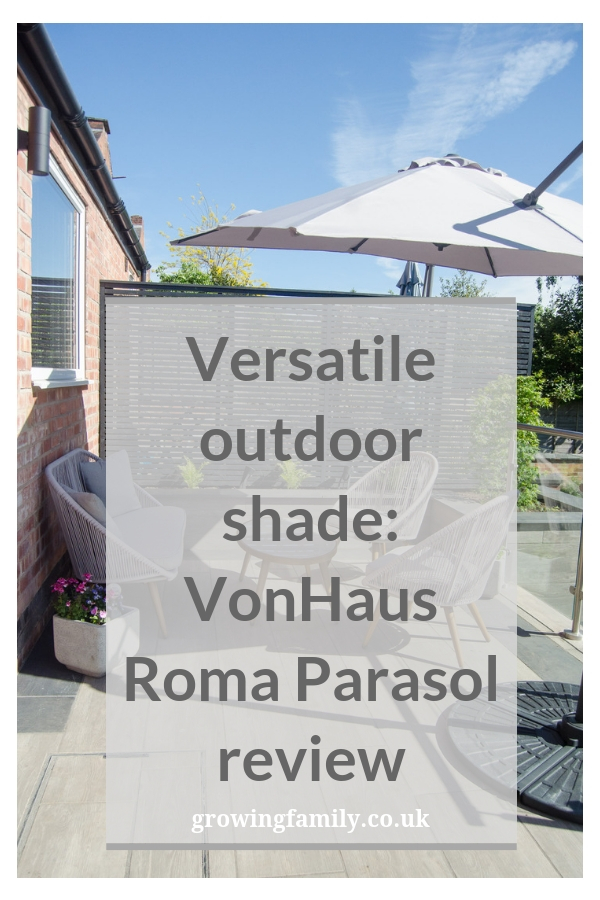 Reviewing the VonHaus Roma 2.5m garden parasol which offers flexible shade and UV protection for your outdoor space.