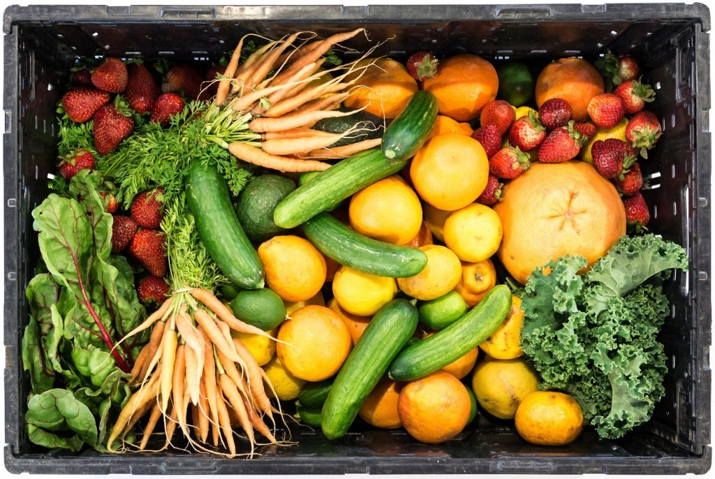 crate of fruit and vegetables