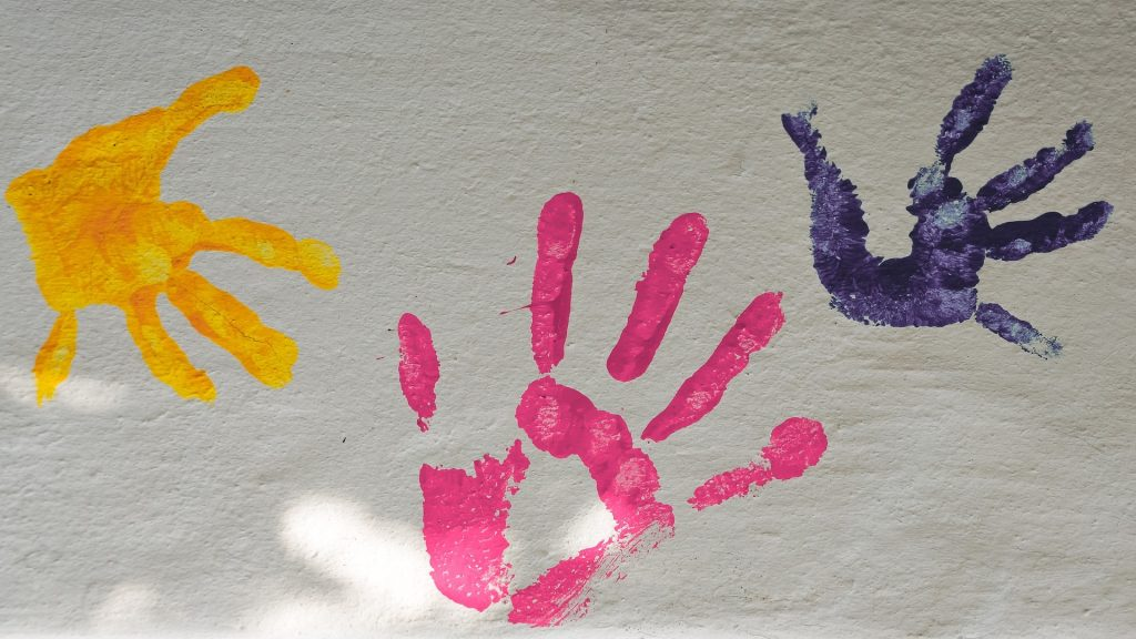 children's artwork hand prints