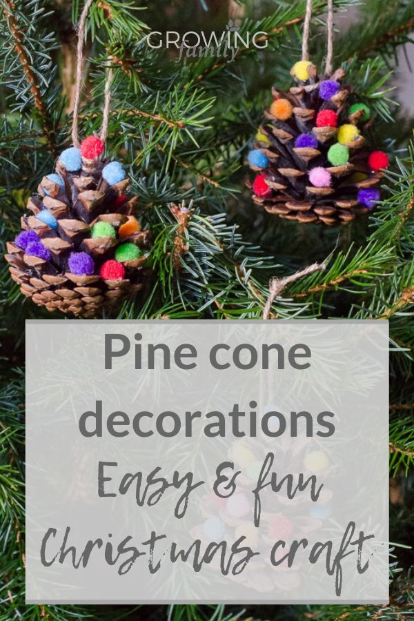 Homemade Christmas decorations: how to make pine cone Christmas tree decorations. A fun, easy DIY Christmas decorations project that the kids will love.