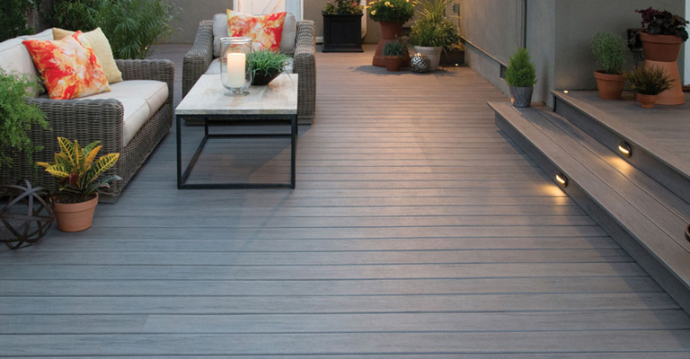 composite decking in grey finish with step lighting