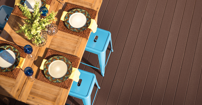 natural wood effect composite decking in dark teak finish