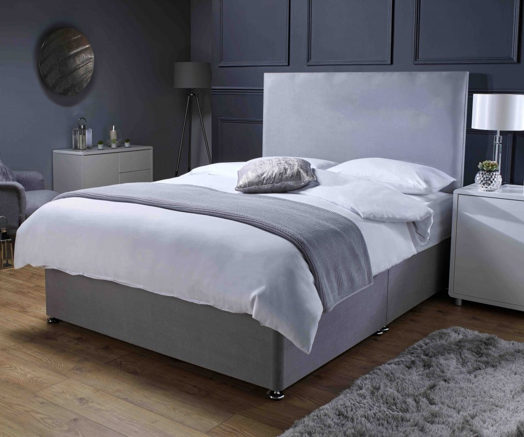 upholstered divan bed in grey suede