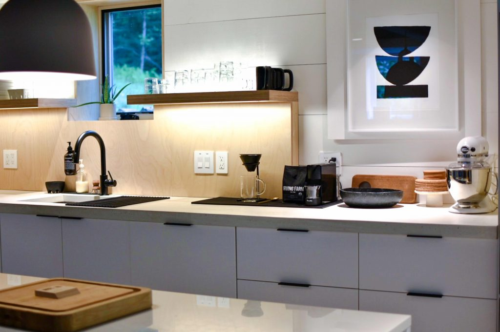 kitchen with strip lighting