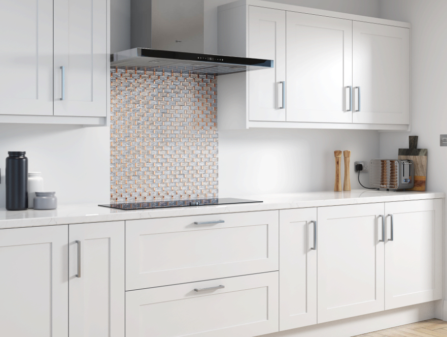 kitchen with mosaic tiled splashback