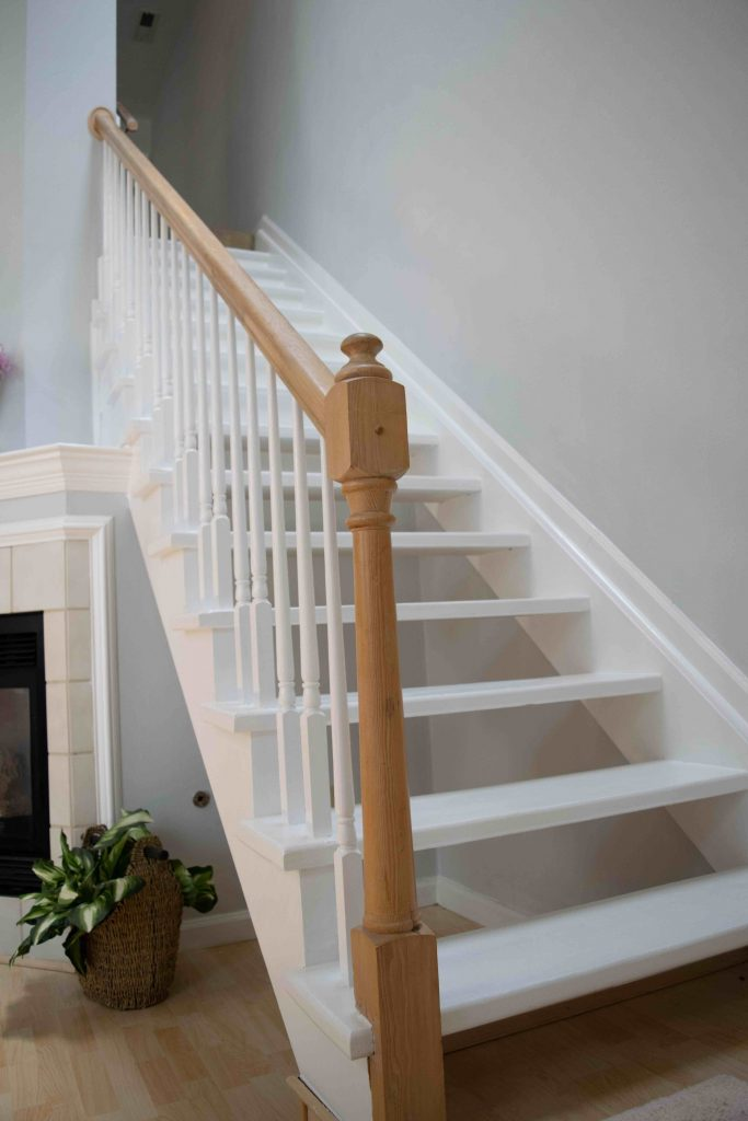 white staircase design