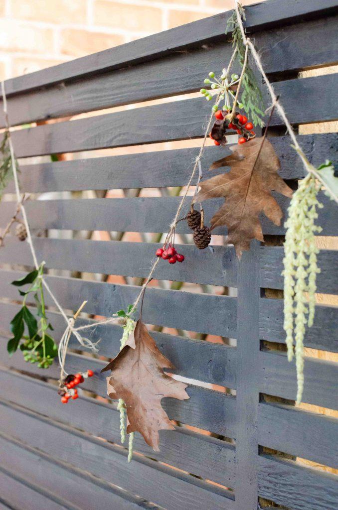 nature garland made with natural materials and string