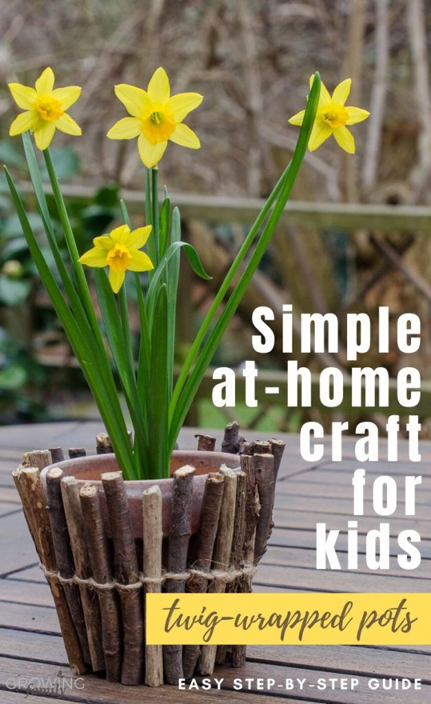 How to make your own twig wrapped flower pots - a simple and fun at-home activity for children. Makes a great homemade gift too!