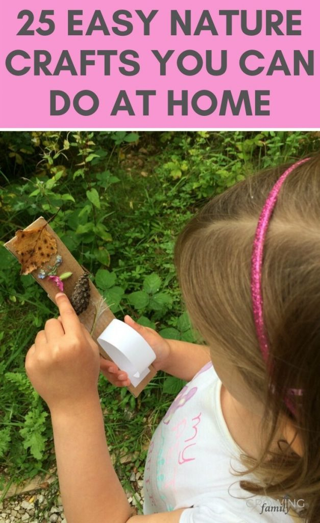 25 fun & easy nature crafts that you can do when you're stuck at home with the kids. Perfect for keeping kids entertained and active!