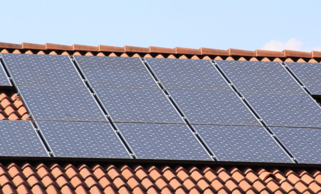 energy saving home improvements - solar panels on roof