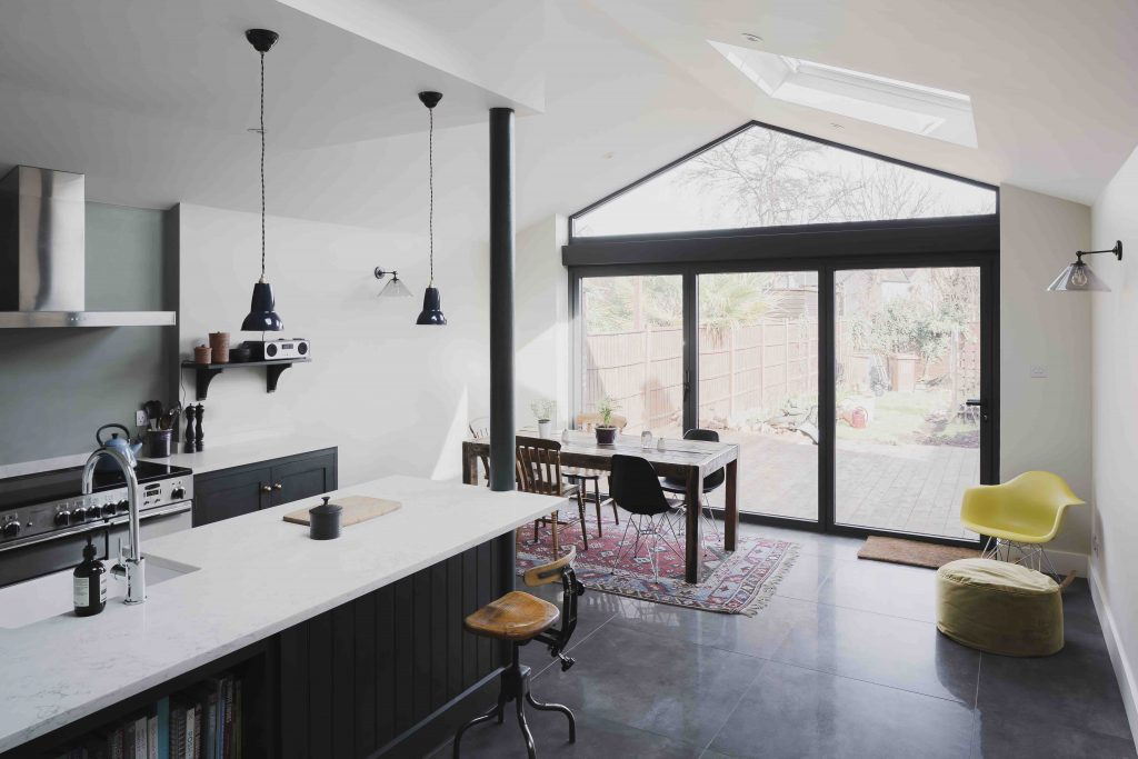 open plan kitchen with bifold doors
