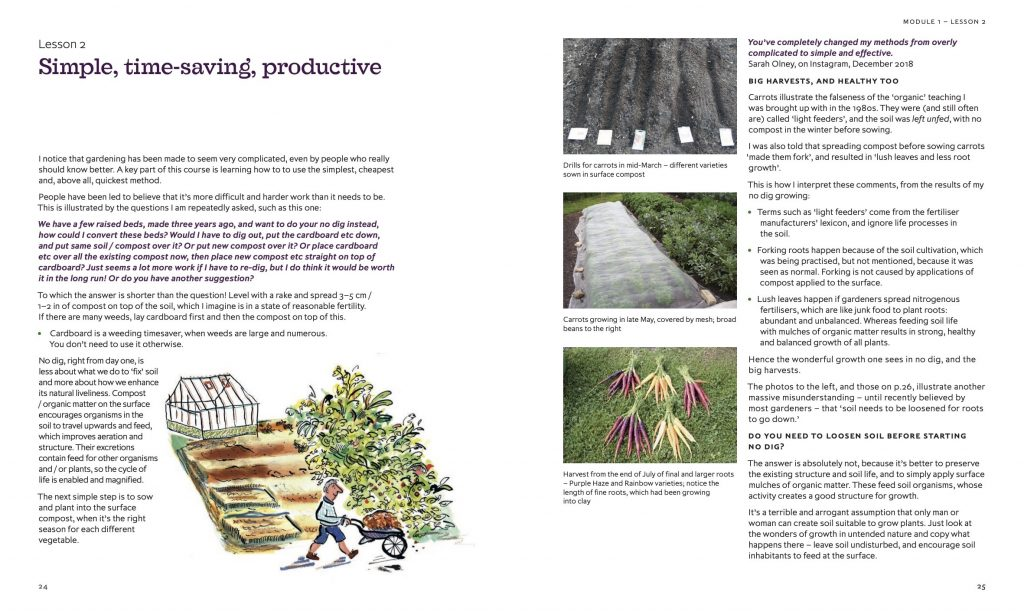 Charles Dowding No Dig Gardening book page spread