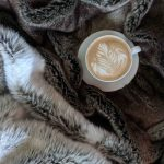 faux fur blanket with coffee cup