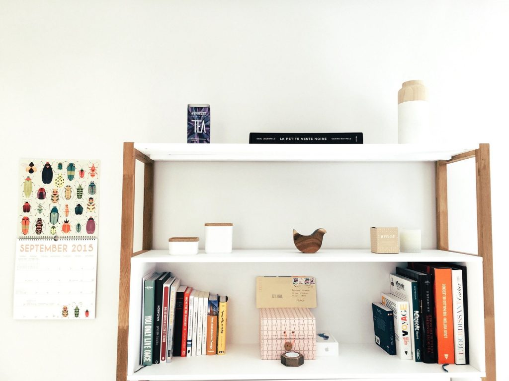 shelving unit with books and ornaments