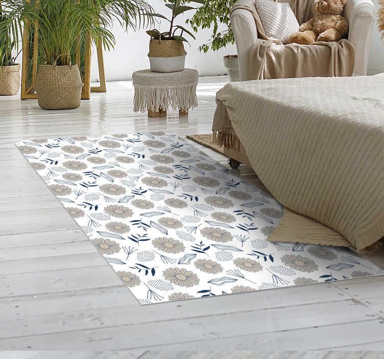 tenstickers beige daisy vinyl rug
