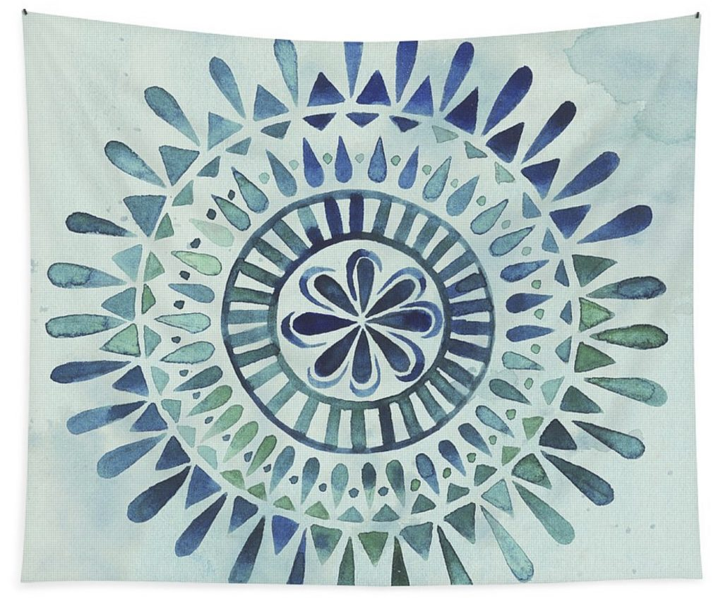 fine art america watercolor mandala II wall tapestry