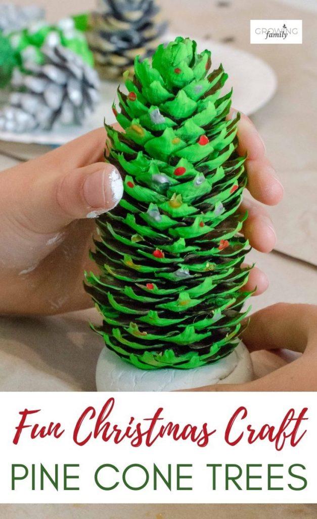 Homemade Christmas crafts: how to make pine cone handmade Christmas decorations.  A fun, easy DIY Christmas decorations project that the kids will love.